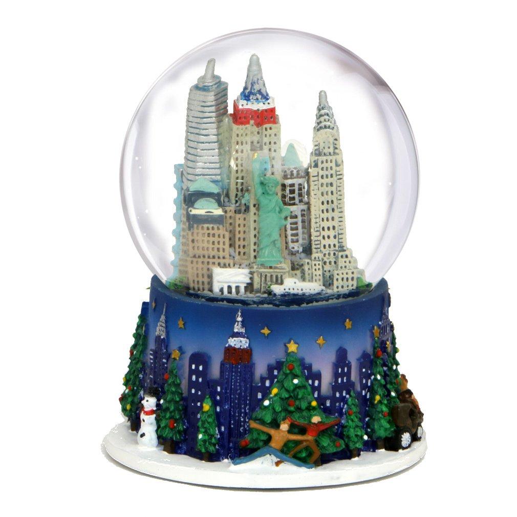 3.5 Inch New York City Christmas Snow Globe and Rockefeller Center Skyline NYC Snow Globes City-Souvenirs WG148