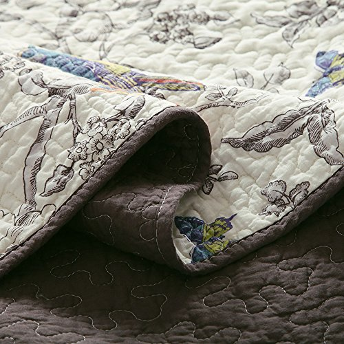 Vintage Floral Quilt Set King Cotton Bedspread Set Beige Brown Reversible Quilt Coverlet Set Luxury Birds Flower Butterfly Printed Quilt Set, Soft and Warm Autumn Winter Quilt Comforter Set by AMWAN (Image #3)