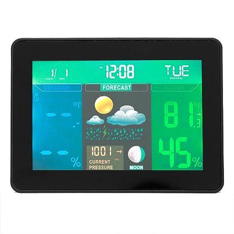 Termómetro Higrómetro Interior Exterior LCD Digital Monitor Temperatura y Humedad Reloj Alarma Electrónico Barómetro Blanco Negro
