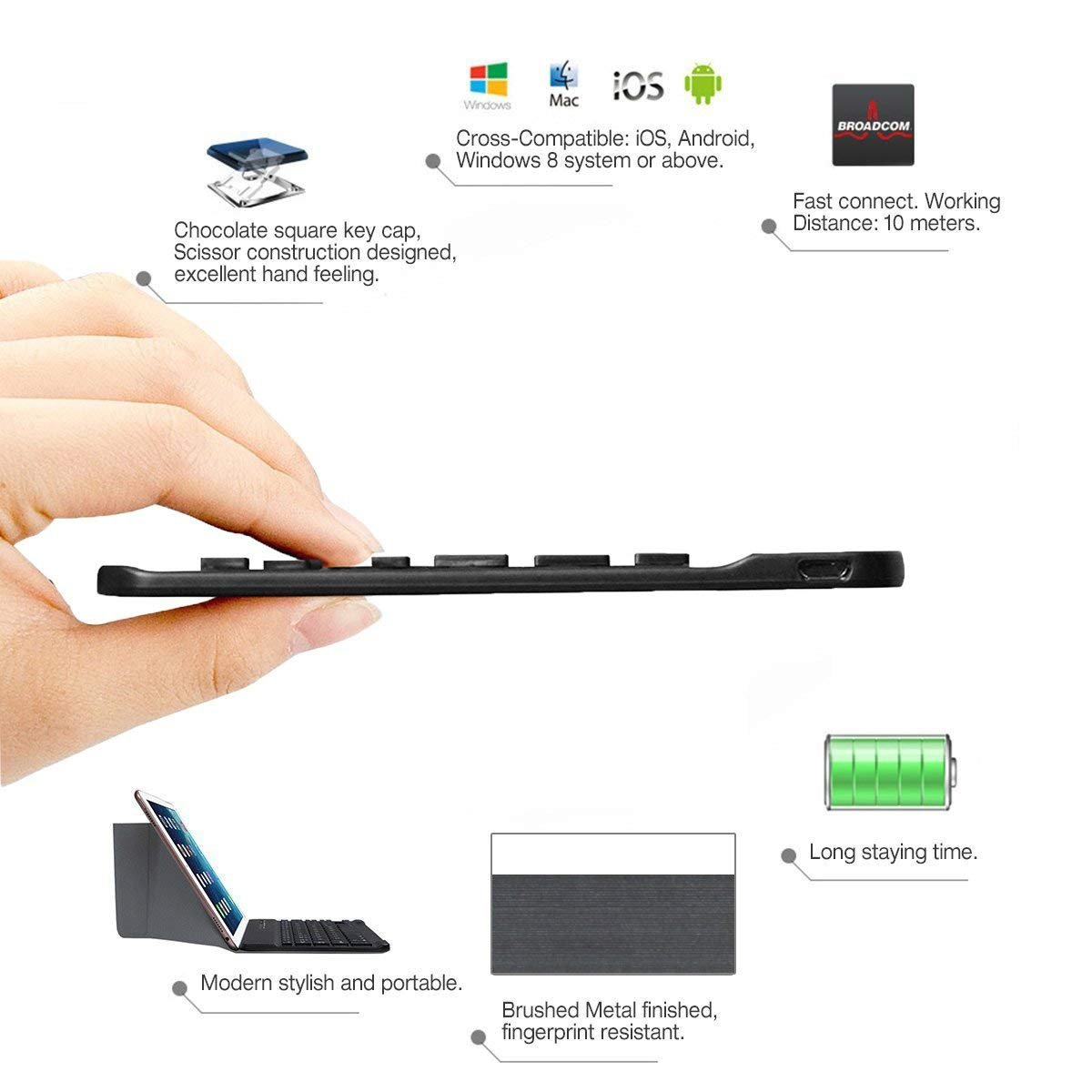 Windows //IOS-Smartphone Tablet,Samsung Galaxy Tab,Google Nexus Tempo QWERTY Italiano Layout Tastiera Wireless Bluetooth Keyboard 7 Compatibile Qualsiasi Android Fire-nero
