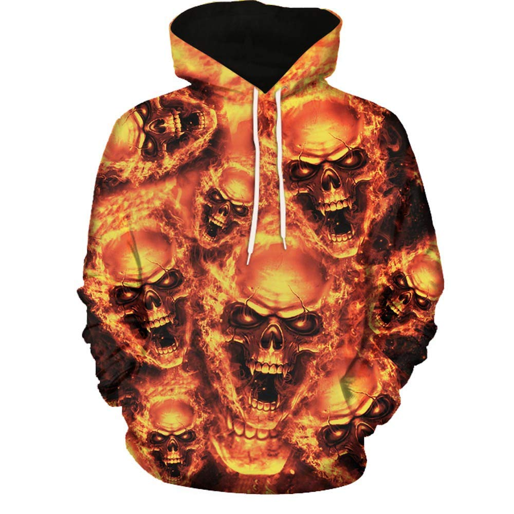 Unisex Men's Pullover Hoodie Galaxy 3D Printed Skull Long Sleeve Hooded Sweatshirts for Sport and Party Yellow by Mens Hoodies F_Gotal
