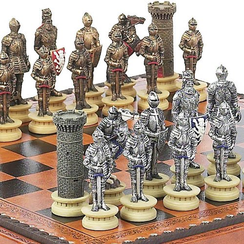 Medieval Chessmen & Marcello Chess & Checkers Board from Italy