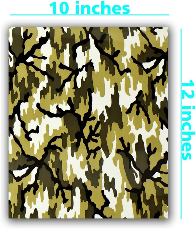 Heat Transfer Camouflage Pattern Vinyl Pack 4 Assorted Colors Bundle//Camo Iron on Vinyl Sheets 12x10 for DIY Shirt and Garment