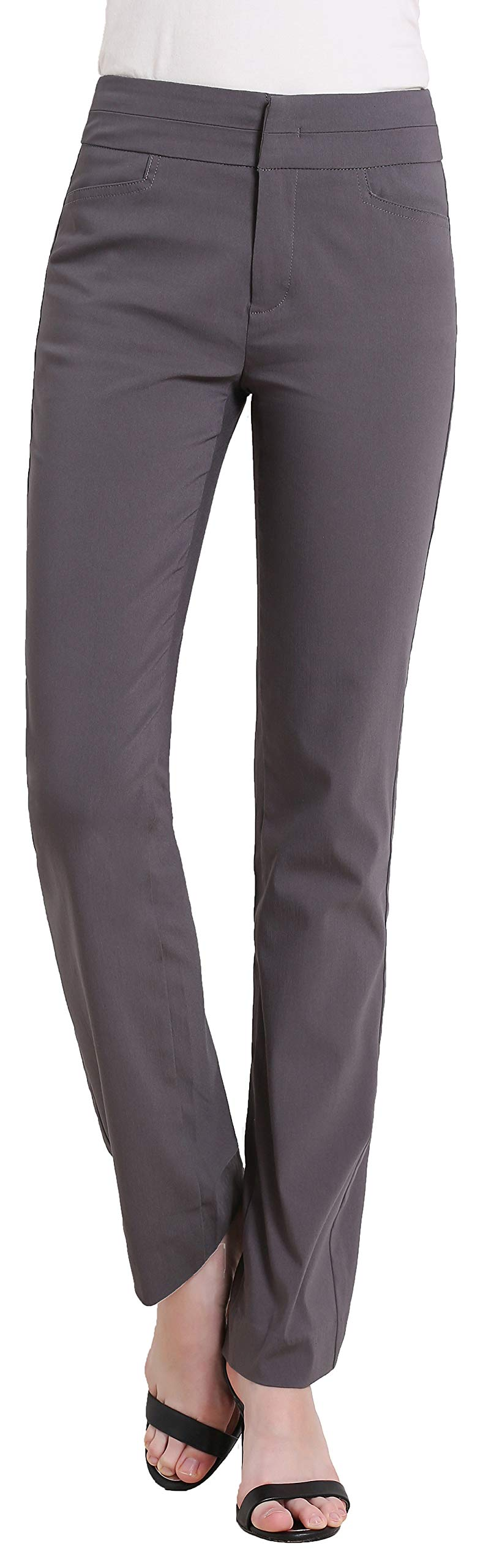 MOVING DEVICE Women's Dress Pant with Side Pockets Straight Leg Pant Wear to Work Zipper Closure