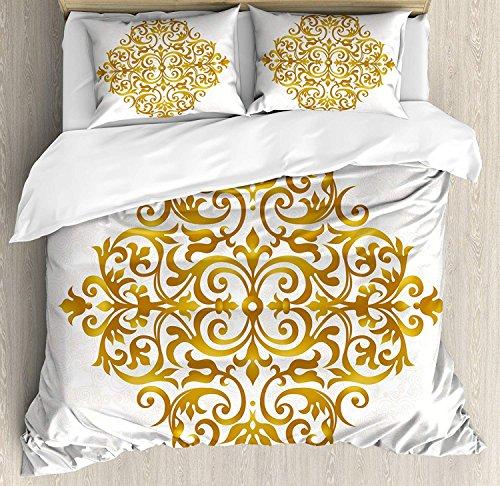 Z&L Home Mandala Duvet Cover Bedding Sets Luxury Soft Flat Sheet Set with Pillow Shams for Kids Teen Girls Boys Men Women, Victorian Style Traditional Filigree Inspired Royal Oriental Classic - Filigree Royal