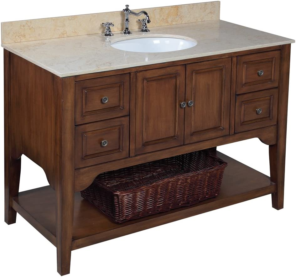 Washington 48-inch Bathroom Vanity Travertine Brown Includes Brown Cabinet with Soft Close Drawers, Travertine Countertop, and White Ceramic Sink