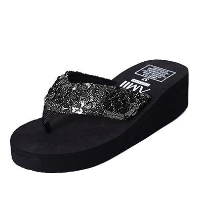 dd21cbe3595 Platform Sandals Flip Flops Wedge Sequin for Women Beach (B(M) US5.