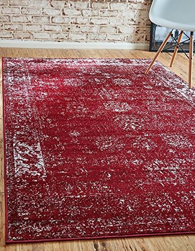 Unique Loom Sofia Collection Burgundy 8 x 10 Area Rug (8' x 10') - 8' Runner Salmon