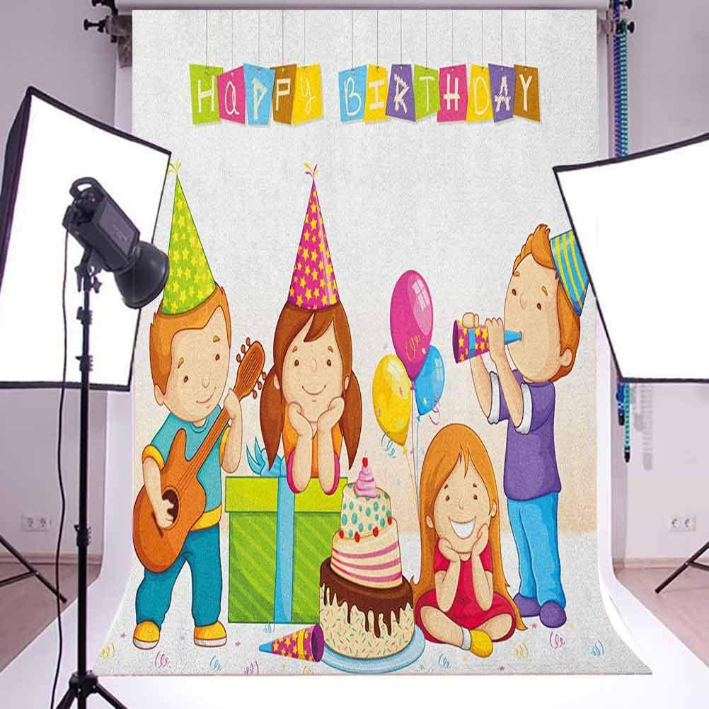 7x10 FT Doodle Vinyl Photography Backdrop,Cartoon Style Hippo Boy and Balls on Pastel Colored Striped Background Funny Animal Background for Party Home Decor Outdoorsy Theme Shoot Props