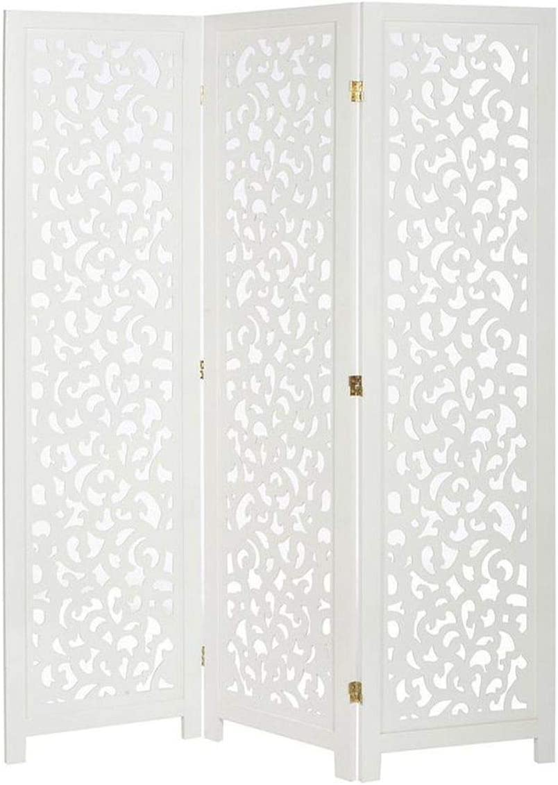 Legacy Decor 3 Panel Solid Wood Screen Room Divider, White Color with Decorative Cutouts