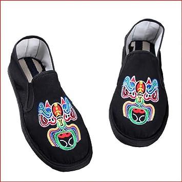 Jincosua - Zapatillas para Hombre, Tradicionales, Chinas, para Bordar, con Suela Suave, Negro, UK 7: Amazon.es: Hogar