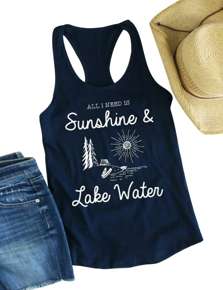 Nlife Women Summer Sunshine Letter Print Top Round Neck Sleeveless Casual Tank Tops
