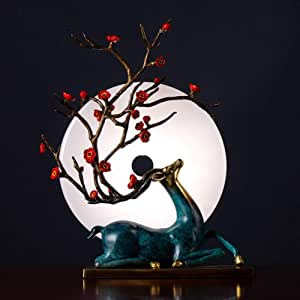 Chenteshangmao Home Decor - Pure Copper Sika Deer Decoration, Sika Deer Jade Plate Decoration, Bedroom Art Hotel, Living Room Wine Cabinet Craft Decoration, Exquisite