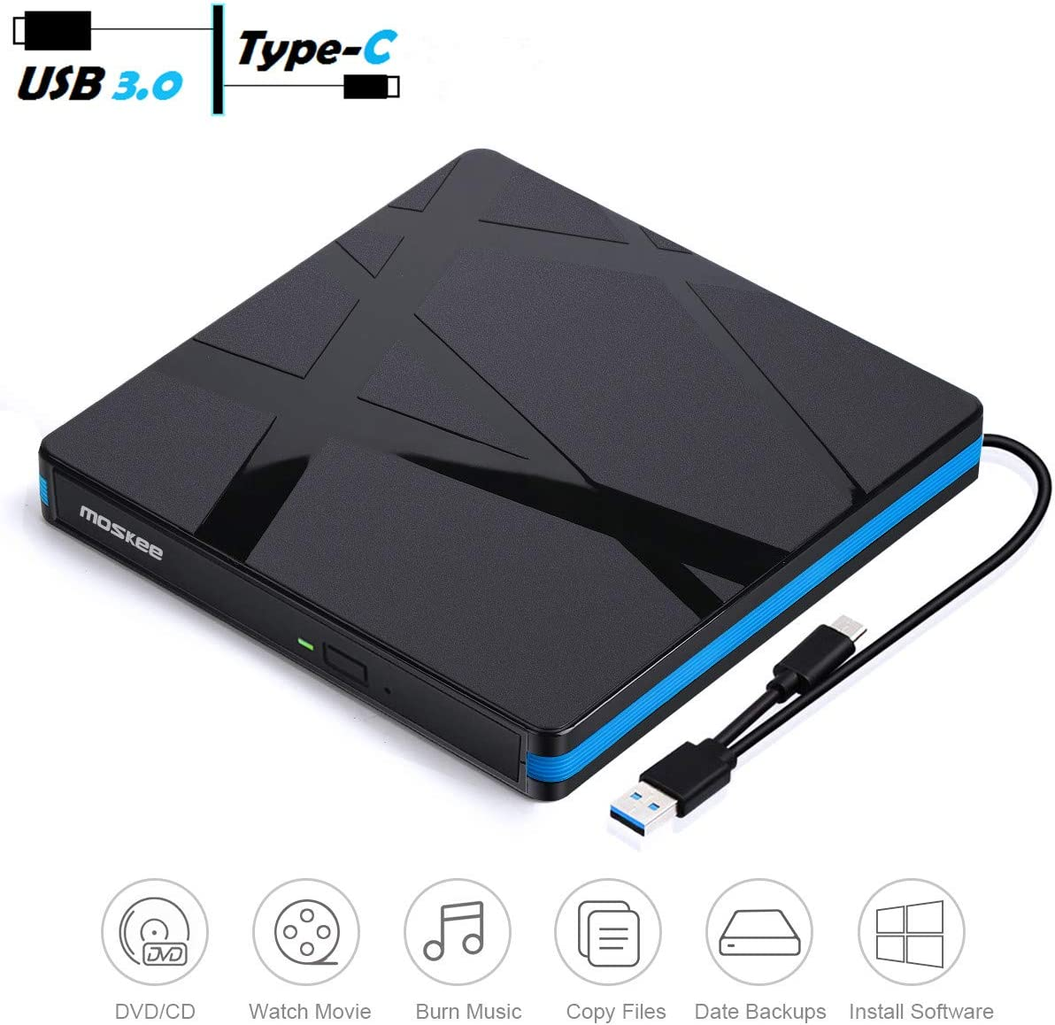 External CD DVD Drive, MosKee USB 3.0 USB-C Portable VCD/CD/DVD Drive CD/VCD Rewriter Burner Writer Support CD/DVD+/-RW etc, External DVD Drive for Laptop/MacBook/iMac/Destop, Windows/Linux/Mac OS