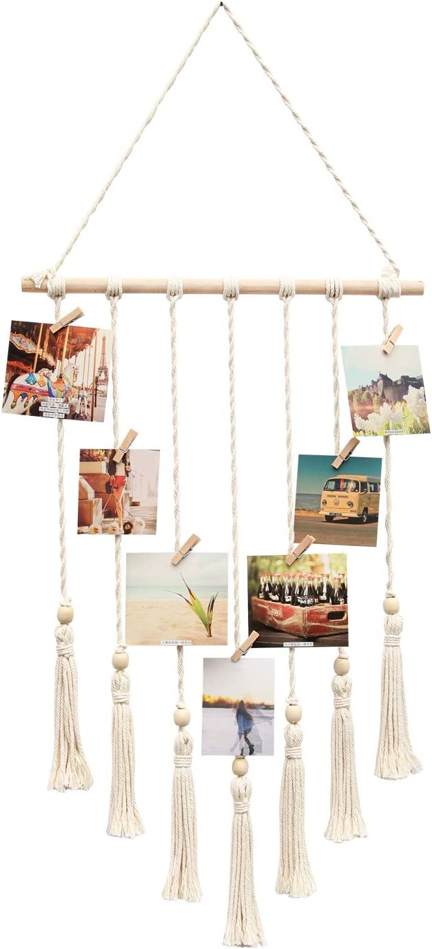 BlueMake Hanging Photo Display with Wood Bead, Macrame Wall Hanging Picture Organizer Boho Home Decor, with 28 Wood Clips (Ivory)