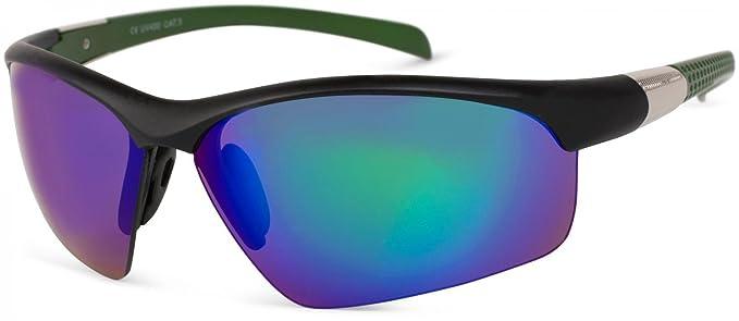 styleBREAKER Sport Sonnenbrille mit Polycarbonat Gläsern, verspiegelt und getönt, Halbrand Sportbrille, Unisex 09020060, Farbe:Gestell Schwarz-Grün/Glas Grün verspiegelt