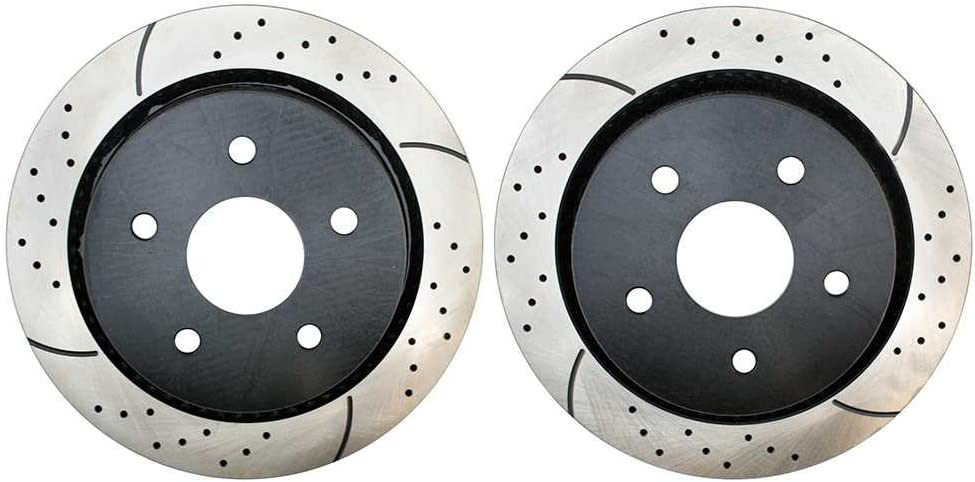 Prime Choice Auto Parts PR63008LR Rear Set 2 Drilled Slotted Performance Brake Rotors 5 Stud