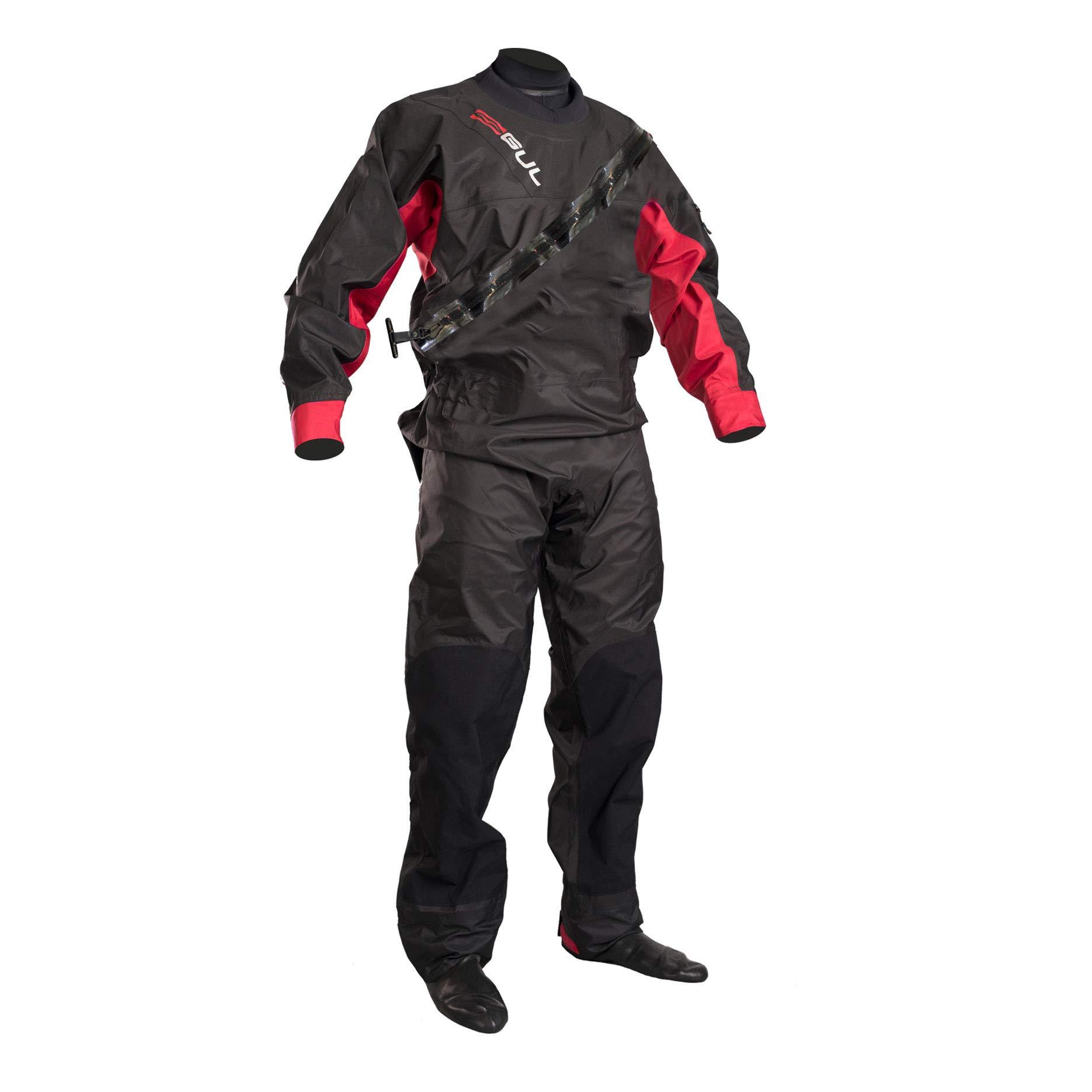 GUL 2018 Junior Dartmouth Eclip Zip Drysuit Black/RED GM0378-B5 with Free Undersuit Junior Sizes - Junior Large