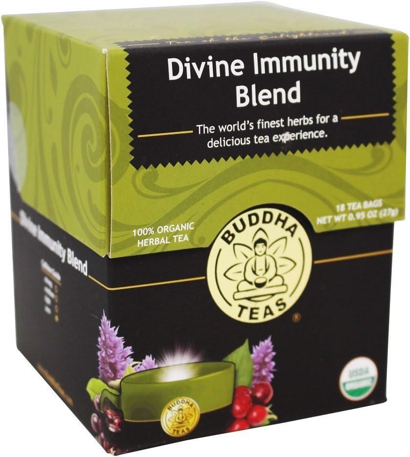 Organic Divine Immunity Blend Tea – 18 Bleach-Free Tea Bags – Caffeine-Free Tea, Light and Flavorful Blend, Rich in Vitamins and Minerals, Kosher, GMO-Free