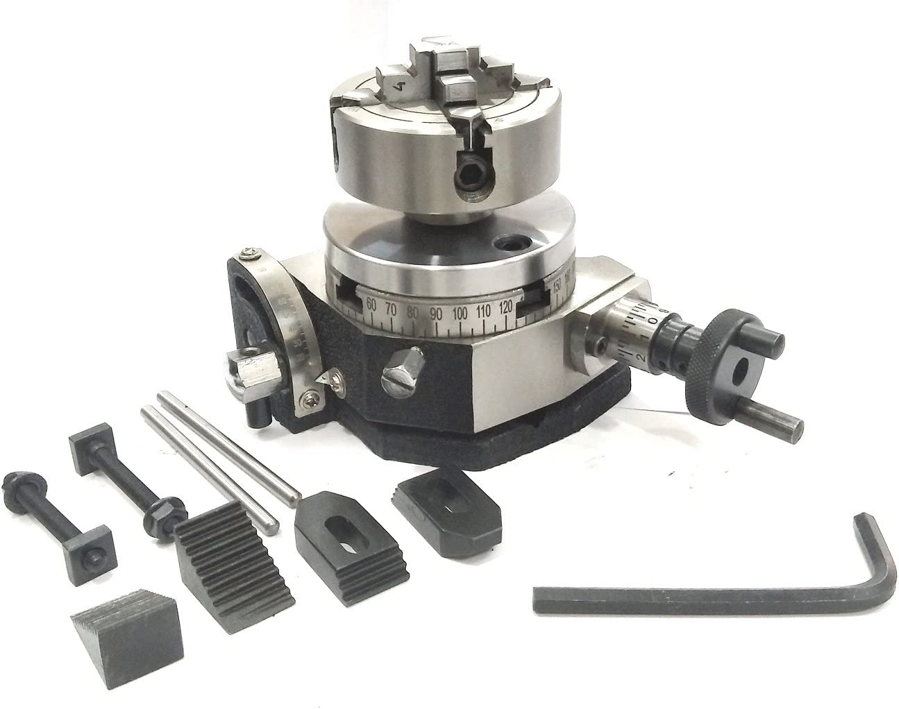 ENGINEERING TOOLS SUITABLE BACK PLATE /& T NUTS BOLTS /& M6 CLAMP KIT 3 INCHES// 80 MM TILTING ROTARY TABLE WITH 70 MM 4 JAW INDEPENDENT CHUCK