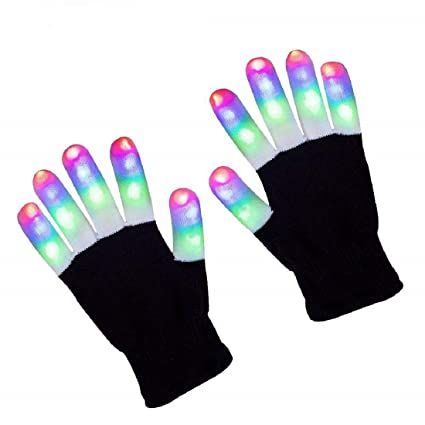 Rednow LED Gloves Light Up Rave Glow Gloves 3 Colors 6 Modes Flashing Halloween Costume Clubbing Birthday Party Novelty Light Up Toys