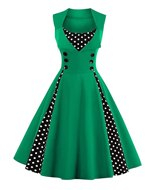 Rockabilly Dresses | Rockabilly Clothing | Viva Las Vegas Australia- Killreal Womens Polka Dot Retro Vintage Style Cocktail Party Swing Dress AUD 47.77 AT vintagedancer.com