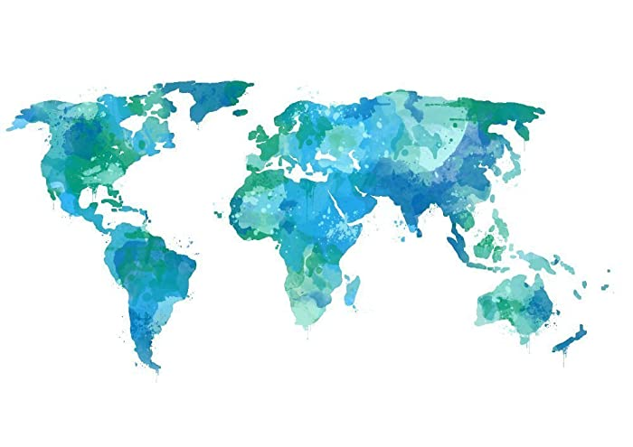 World Map Watercolor Amazon.com: Watercolor World Map Teal Map Art Print Travel Artwork