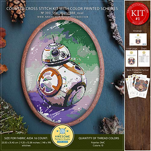 (Star Wars BB8#K393 Embroidery Cross Stitch Kit | Movie Character Stitching | Embroidery Kits | Needlepoint | Counted Cross Stitch | Cross Designs)