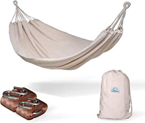Hammock Sky Brazilian Double Hammock (Natural) with Tree Straps (Brown) - Two Person Hammock with Best Extra Long Hanging Straps 2 Pack