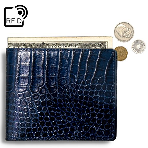 (Lethnic Mens Bifold Wallet features Horizontal Credit Card Style, Made from Crocodile Embossed Cowhide Genuine Leather with RFID Blocking, Super Thin and Slim for Pockets, Navy Horizontal)