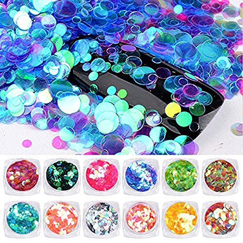 Minejin Nail Art DIY Mermaid Glitter Sequins Semi-transparent Colorful Round Paillette Shining Flakies Decoration 12 Colors -
