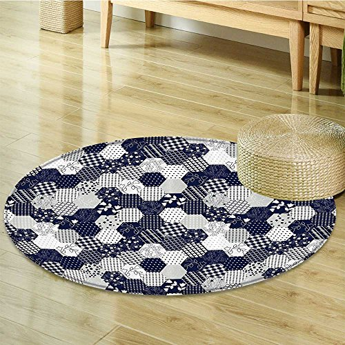 Rug Octagon Elegance (Navy Blue Decor Circle carpet by Nalahomeqq Octagon Patchwork Style Pattern Image with Dots Stars Squares Stripes Fabric Room Decor non-slip Navy and White-Diameter 120cm(47