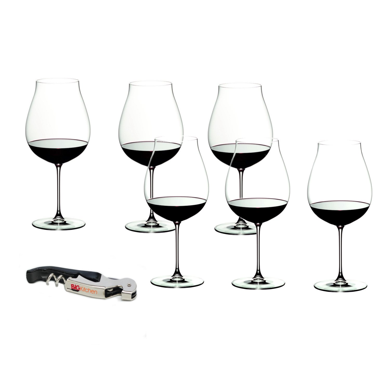 Riedel Veritas Leaded Crystal New World Pinot Noir 6 Piece Wine Glass Set with Bonus BigKitchen Waiter's Corkscrew