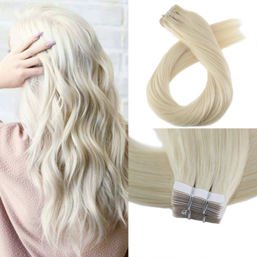 Moresoo 18 Inch Adhesive Straight Hair Seamless Tape on Hair Extensions Human Hair Tape 100 Grams 40 Pieces Per Pack Platinum Blonde #60 Skin Weft Extension Hair Tape in Ltd