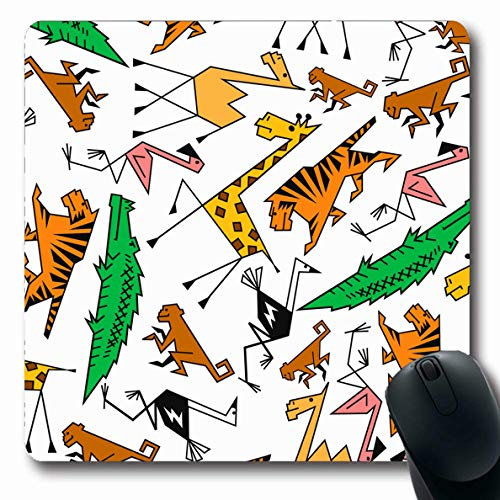 LifeCO Computer Mousepad Black Brown Cute African Jungle Safari Pattern Ostrich Green Camel Outline Abstract Africa Design Oblong Shape 7.9 x 9.5 Inches Oblong Gaming Non-Slip Rubber Mouse Pad Mat