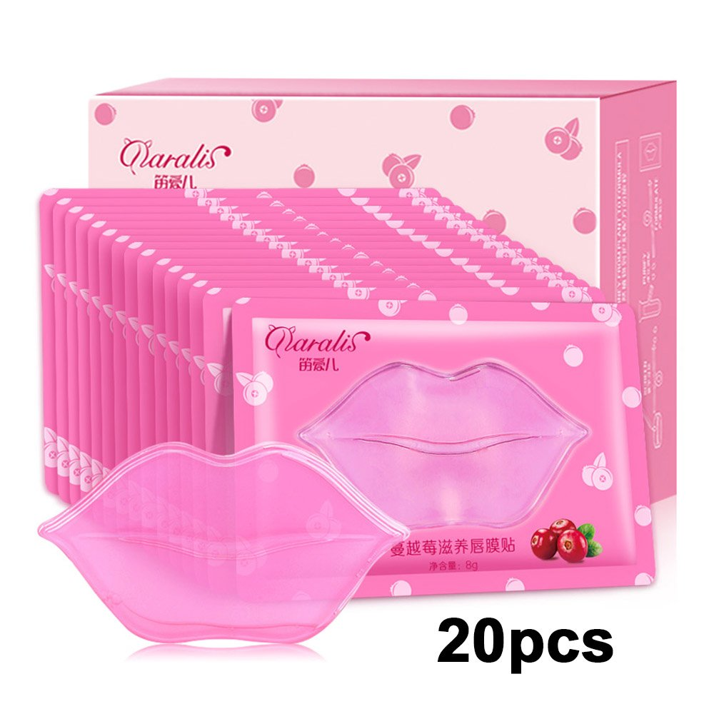 Anself 20pcs Lip Mask Lip Plumper Crystal Collagen Lip Mask Pads Lip Repair Moisture Essence W6546-9GPAJU