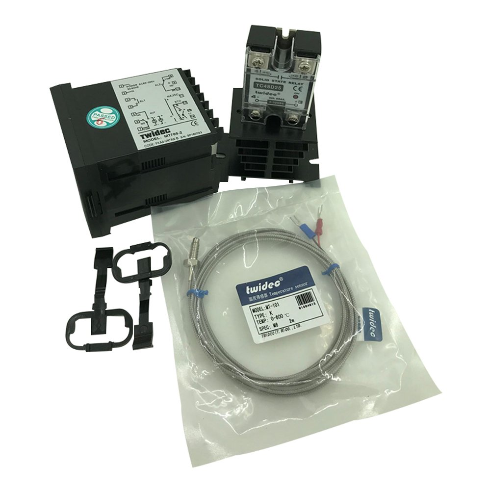 Twidec MT700-2 PID Temperature controller, 90-240VAC, 0-400 °C, Input: K, Output: SSR(DC12V);K screw probe, probe lead length 2M(78.74 inches);TC48D25 SSR 25A;Black heat sink