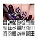 BORN PRETTY Nail Art Stamping Plate Stamp Template Image Plate Heart Diamond Grids BP-L013