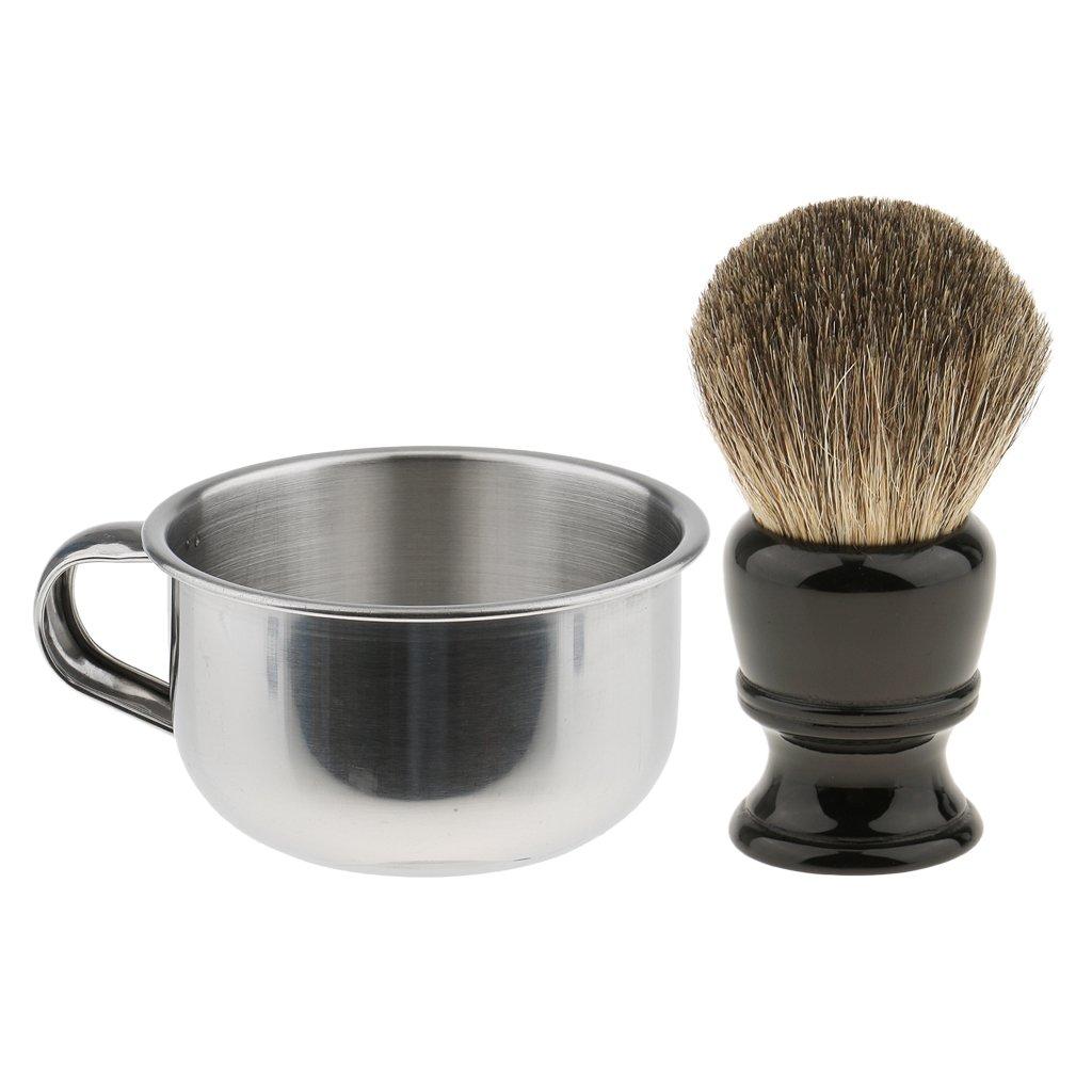 SunniMix Professional Beard Shave Set Black Handle Shaving Brush with Metal Soap Bowl Mug Silver for Men