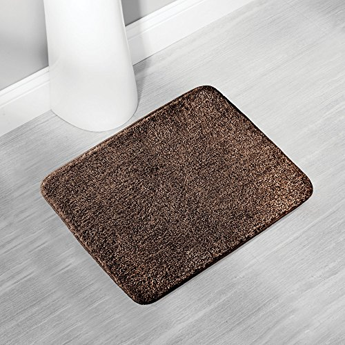 mDesign Soft Microfiber Polyester Non-Slip Small Rectangular Spa Mat, Plush Water Absorbent Accent Rug for Bathroom Vanity, Bathtub/Shower, Machine Washable - 21'' x 17'' - Heathered Chocolate Brown by mDesign (Image #1)