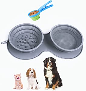 Portable Dog Travel Bowl with Measuring Cups and Spoons Set,Collapsible Dog Bowls for Food and Water Feeding,Dog Slow Feeder Bowl for Small,Medium,Large Size Dogs and Cats,Silicone Food&Water Bowl
