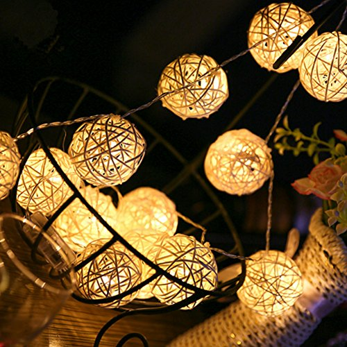 Rattan Light,4.5M/14.8ft 40 Bulbs Plug-in Rattan Lights Thailand Sepak Takraw Ball String Lights Takraw Lantern Night Lights Fairy String Seasonal Rope Lights for Christmas Party House Bar Decorations
