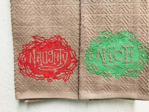 Naughty and Nice Custom Embroidered Dish Towel Set