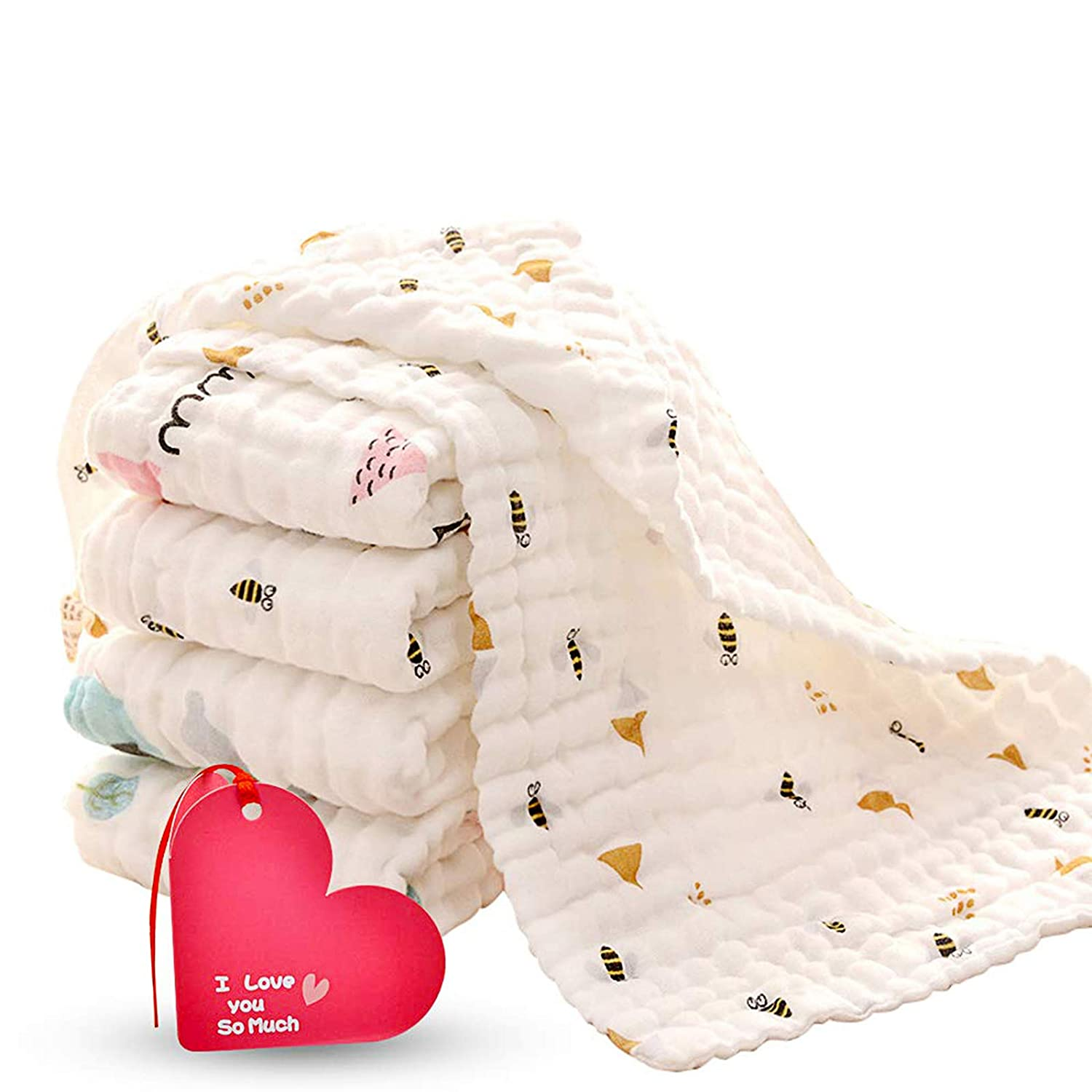 5 Pack Baby Burp Cloths Reusable Baby Towel of Extra Absorbent and Soft Six-ply Cotton Gauze Washcloths 10 x 20