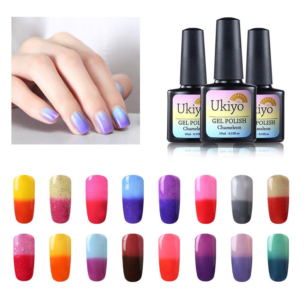 Ukiyo - 6 frascos de esmalte semipermanente soak-off de 8 ml para lámpara UV o LED, variación de temperatura de color 2