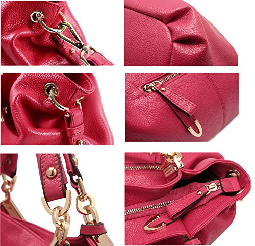 SAIERLONG Nuovo Donna Marrone Pelle Bovina Genuina Borse Tracolle Rose Red