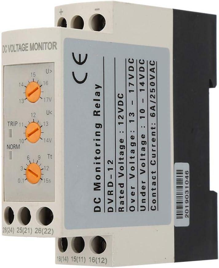 Relé de monitoreo de voltaje de CC 12V / 24V / 36V / 48V Relé de protección contra sobrevoltaje y bajo voltaje Carril de guía 35MM 13-17V 10-14V(DC12V)