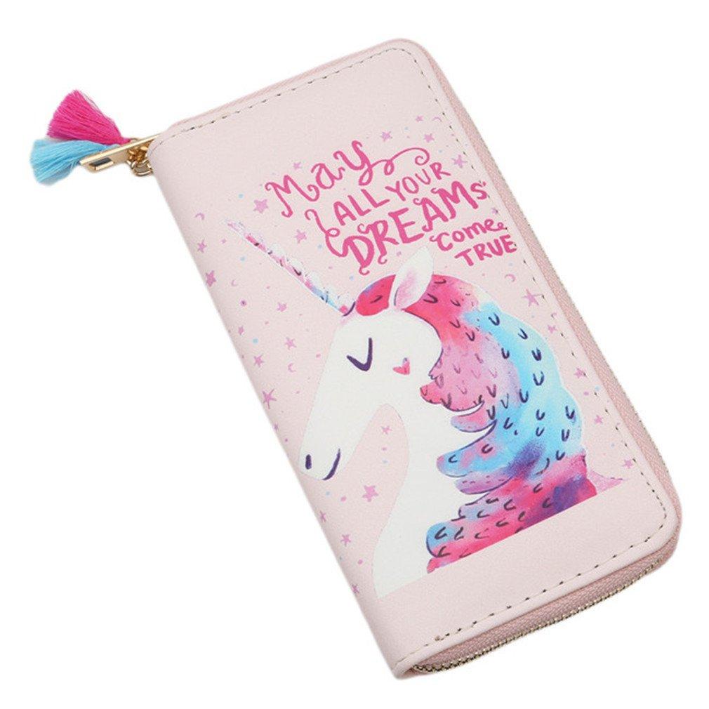 HENGSONG Niedlich Einhorn Geldbörse Geldbeutel mit Reißverschluss PU Leder Lange Portemonnaie Brieftasche für Damen Mädchen (Rosa)