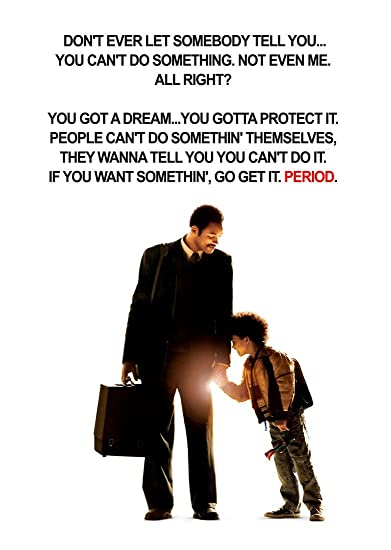 Tallenge Hollywood Movie Poster The Pursuit Of Happyness Quote Small Poster Paper 12 X 17 Inches Amazon In Home Kitchen