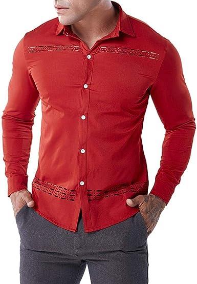 Camisas Hombre Moda ❤️AIMEE7 Camisa Roja Hombre Camisa Hueca De Hombre, Algodón: Amazon.es: Ropa y accesorios